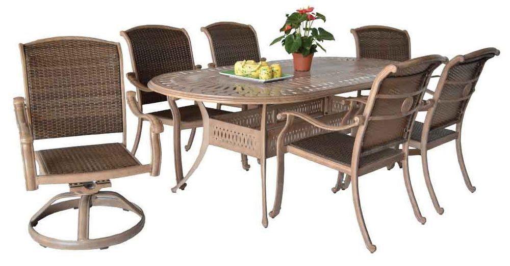 Outdoor Patio Furniture Santa Clara Dining Set With 42 X87 Oval Table Aluminum