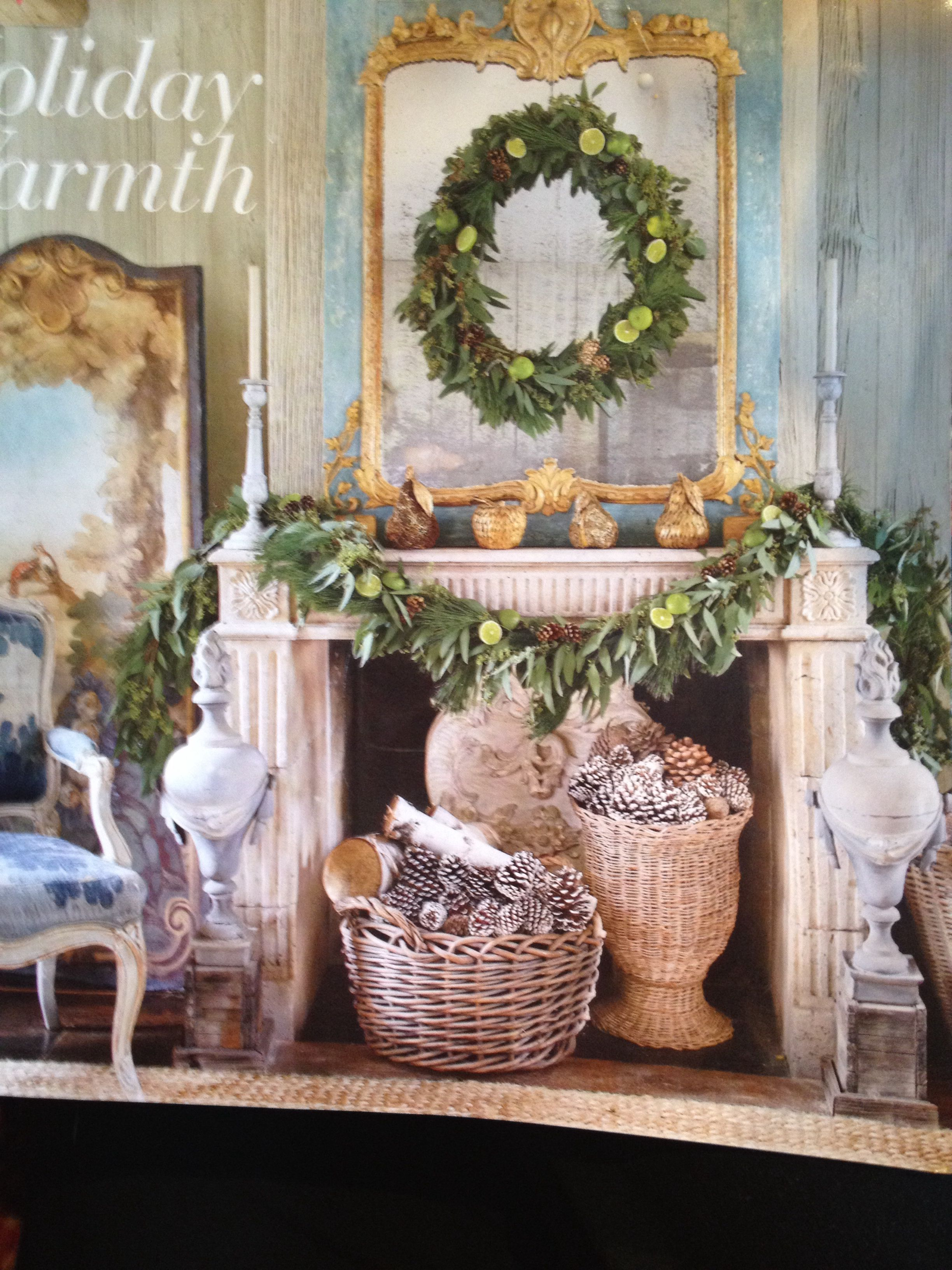 Mantle decor garland and wreath