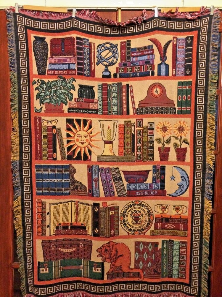 Rare Goodwin Weavers Bookcase Triple Woven Afghan 100 Cotton