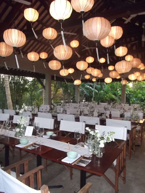 Indoor Dining Set Up With Lanterns Themed To Your Wedding Colours HoiAnEventsWeddings HoiAn