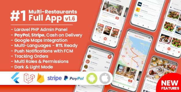 Get Food Delivery Flutter + PHP Laravel Admin Panel