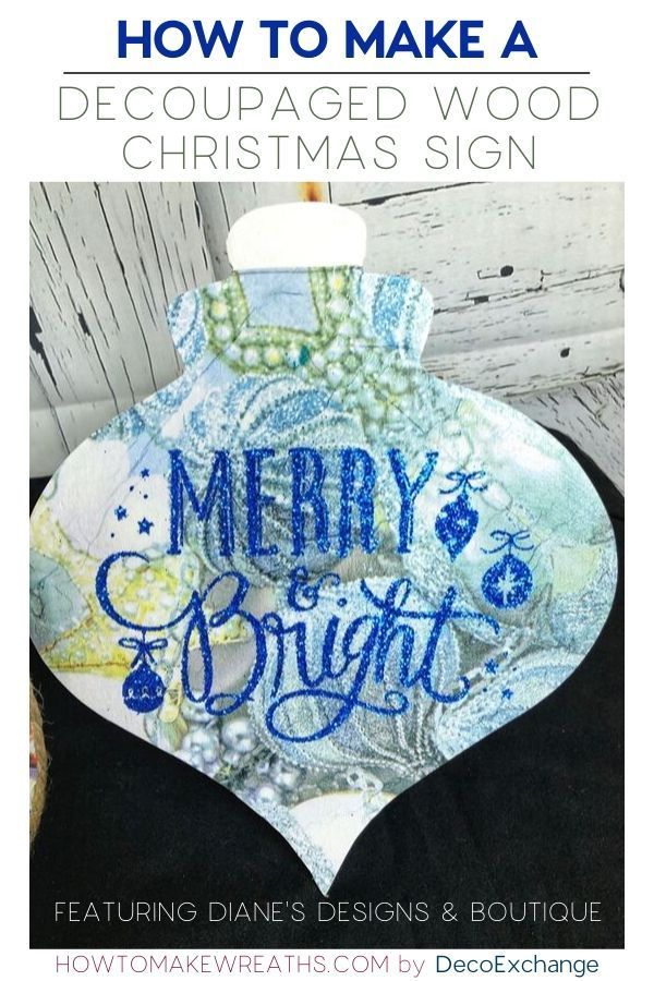 Photo of How to Make a Decoupaged Wood Christmas Sign How To Make Wreaths #howtomakewreat…