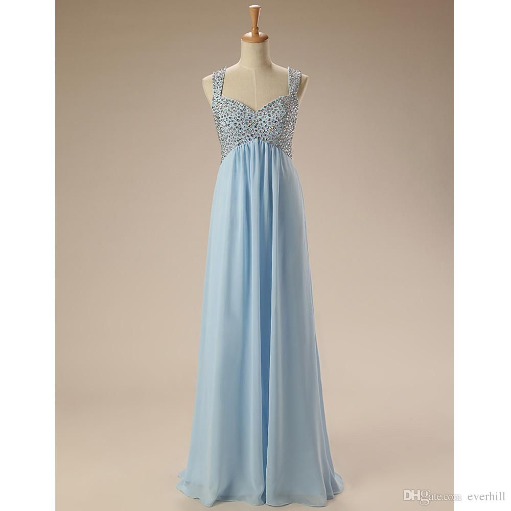 Light Blue Long Chiffon Evening Dresses For Pregnant Women Crystal A ...