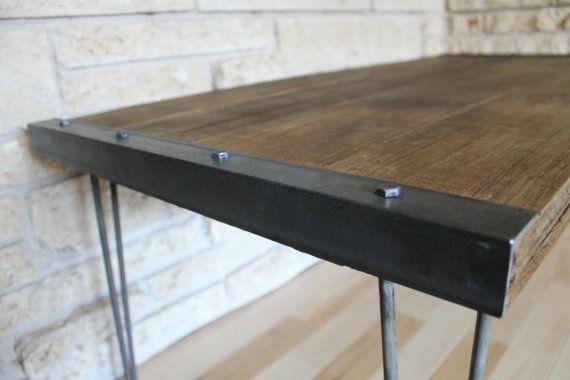 Industrial rustic reclaimed wood coffee table on by for Reclaimed wood coffee table diy