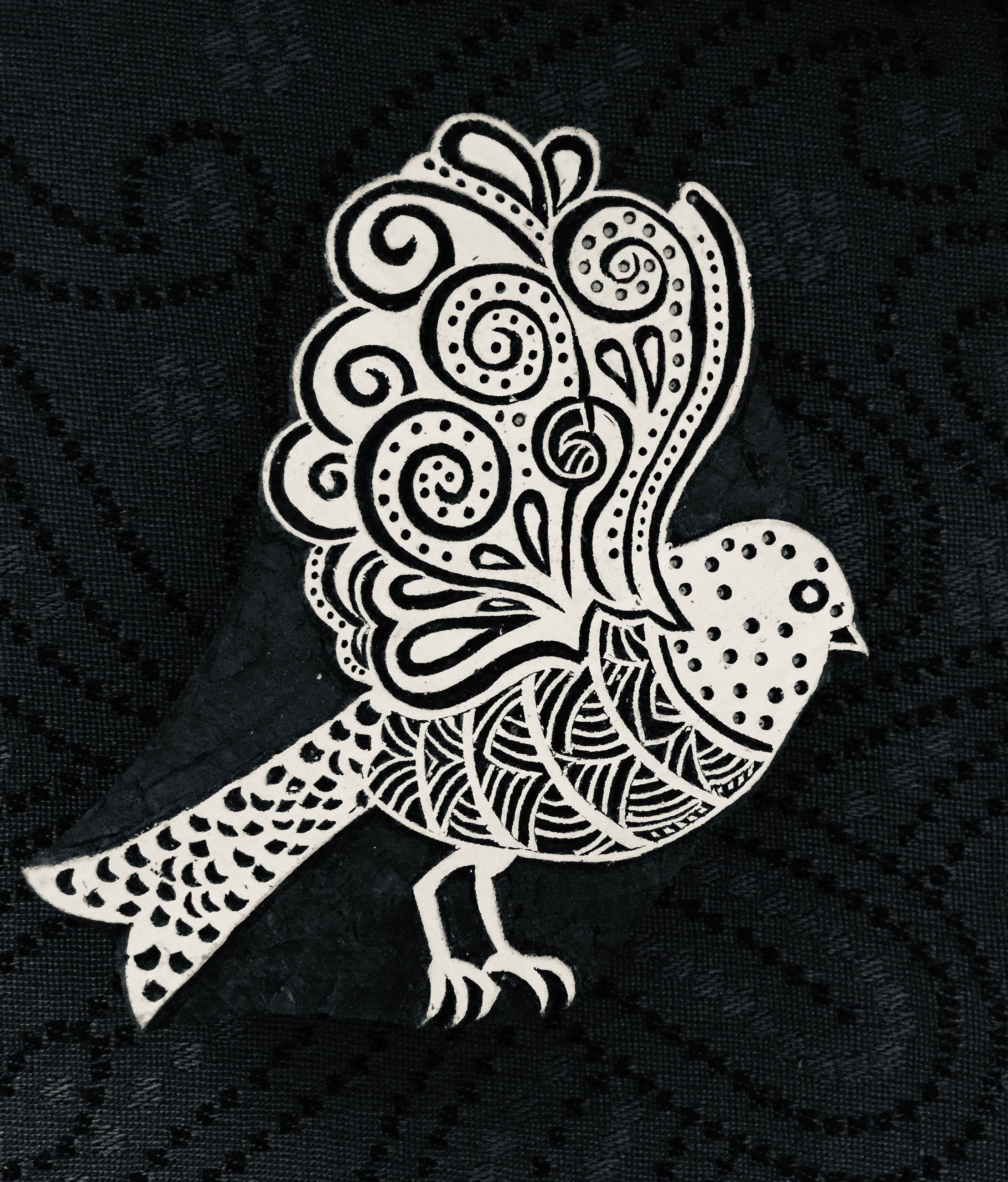 Bird; Hand Carved Wooden Stamp; Wood Block for Textile & Fabric Stamping, Pottery, Clay; #fabricstamping