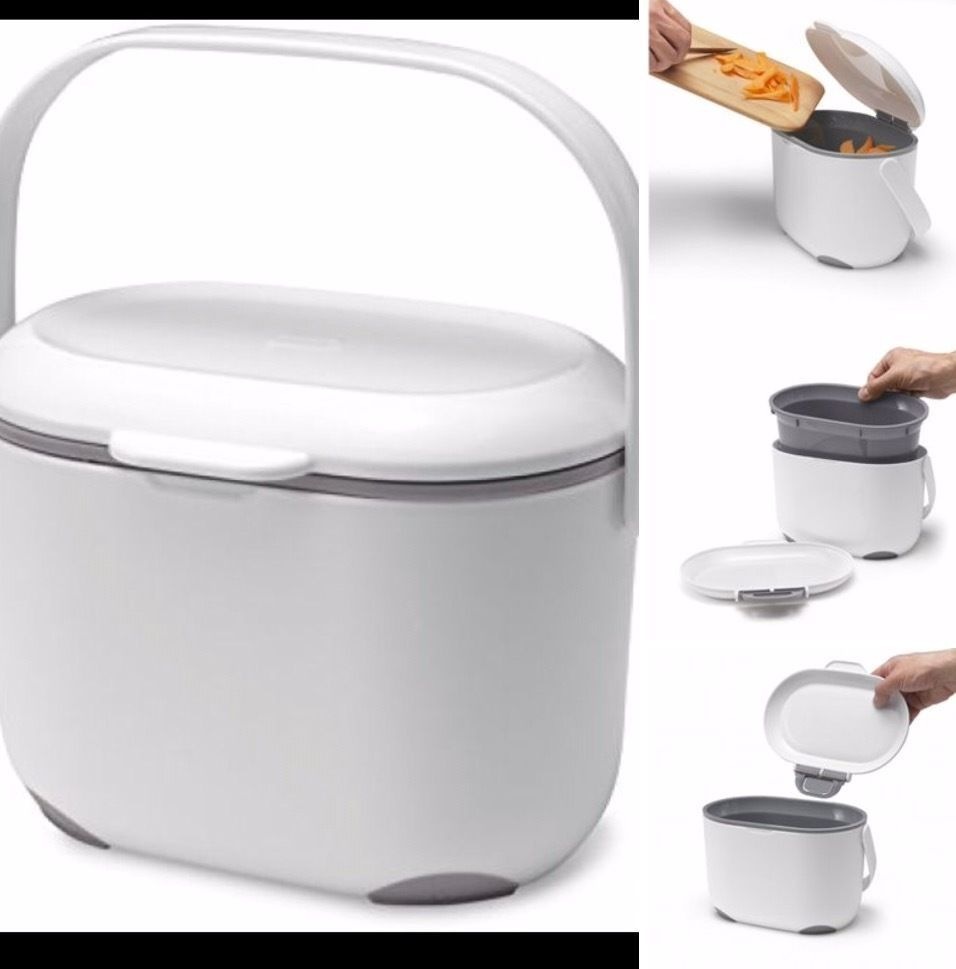Addis 2.5 Litre Kitchen Compost Caddy Scrap Food Bin White/Grey Easy ...