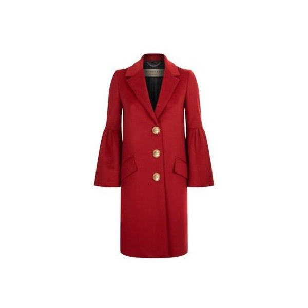 Burberry Bell Sleeved Wool and Cashmere Coat ($1,470) ❤ liked on Polyvore featuring outerwear, coats, burberry coat, wool cashmere coat, red wool coat, woolen coat and pure cashmere coat