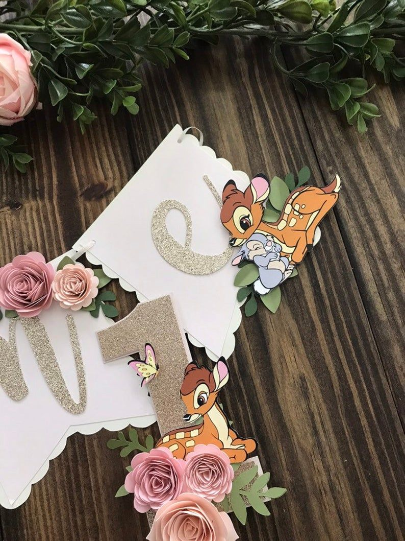 Bambi high chair banner bambi 1st birthday banner bambi banner thumper boho banner one birthday banner floral party decor