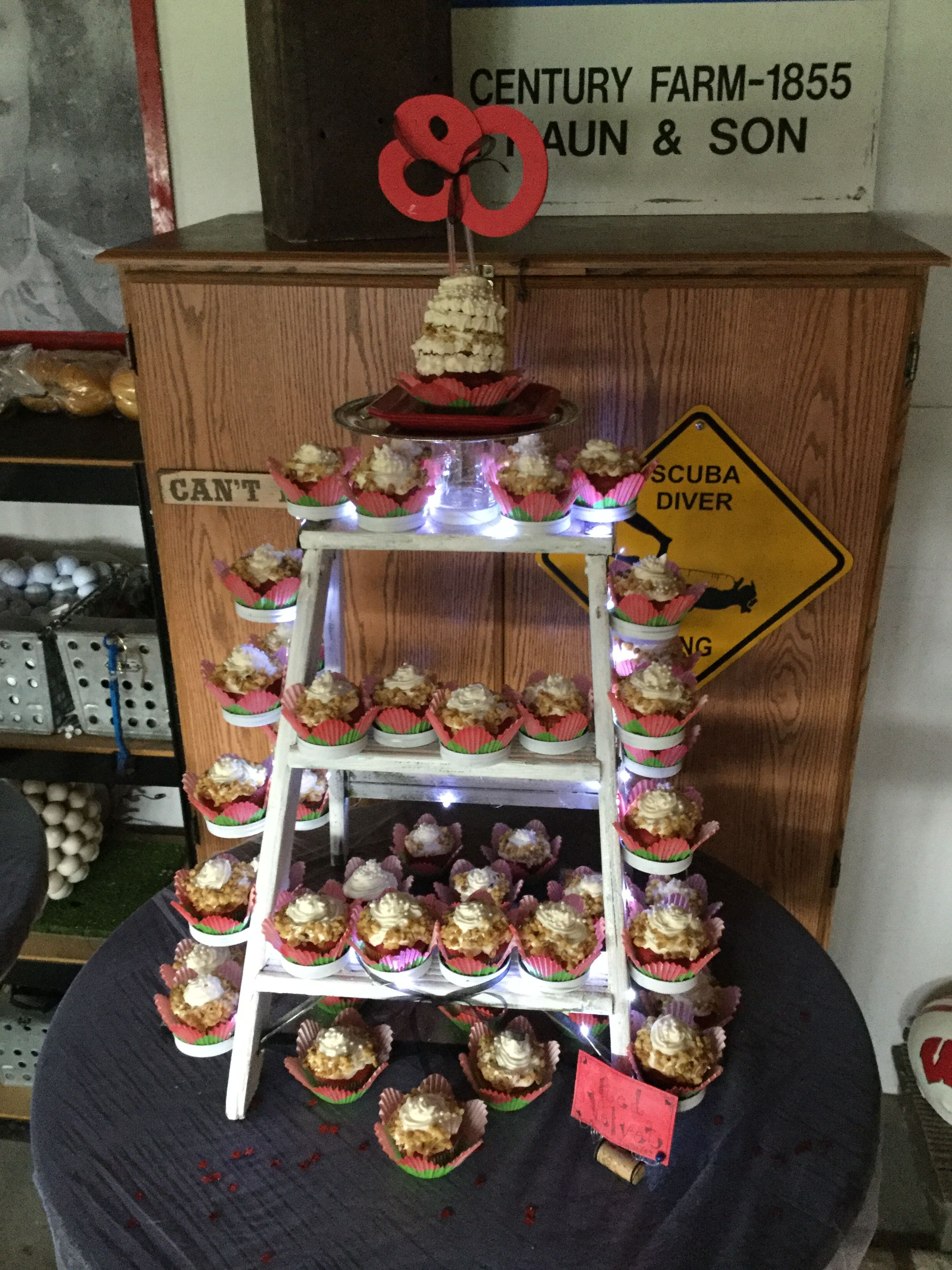 Cupcake stand old ladder used mason jar lids with