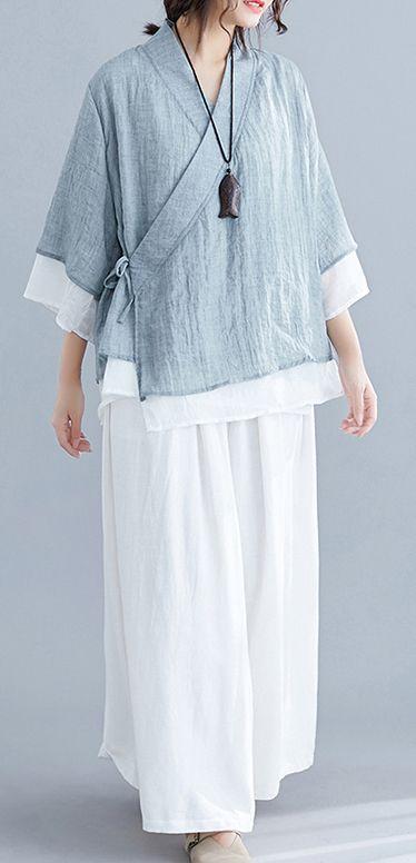 French gray cotton Tunic pattern v neck half sleeve summer shirts