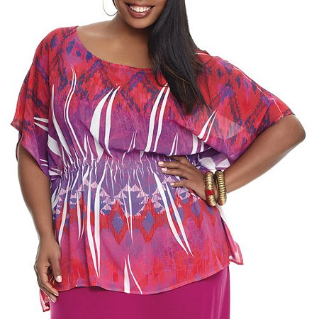 efe9713ac1 Miss Tina Womens Plus-Size Kaftan Tunic With Smocked Waist, Pink ...