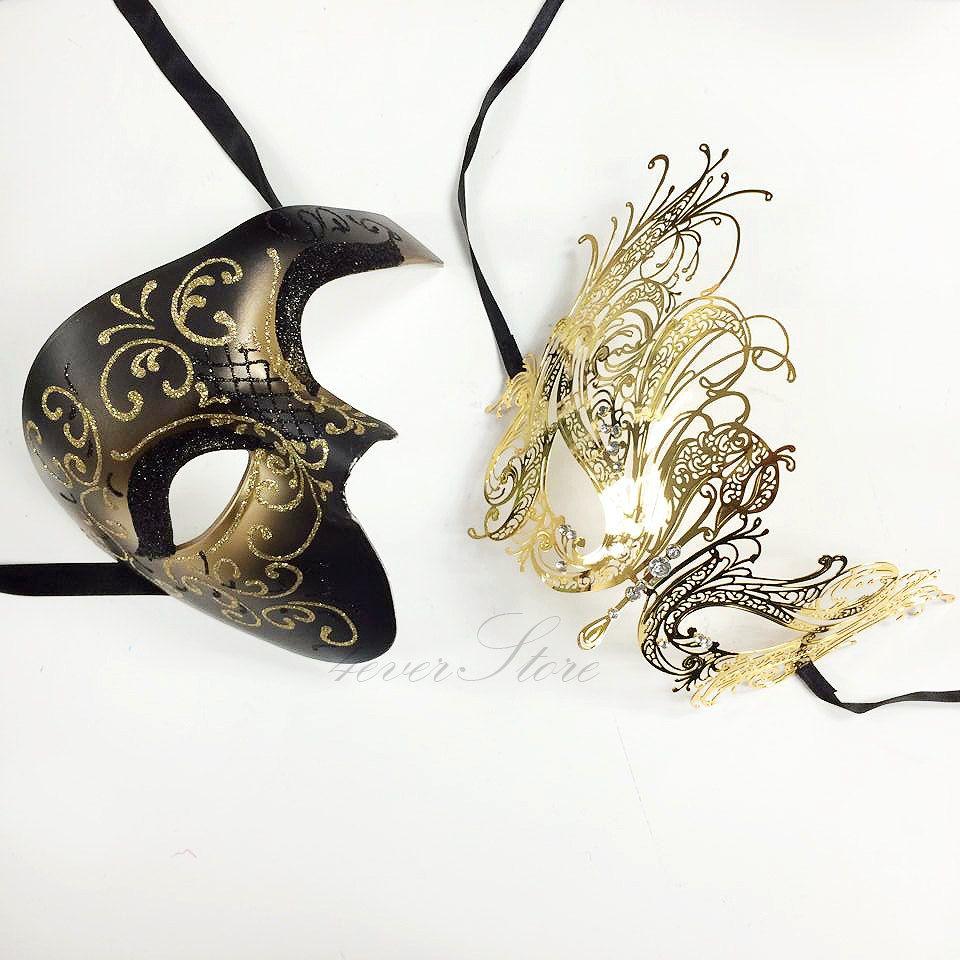 Luxury Gold Masquerade Mask w// Diamonds Gossip Girl Masquerade Couple Set