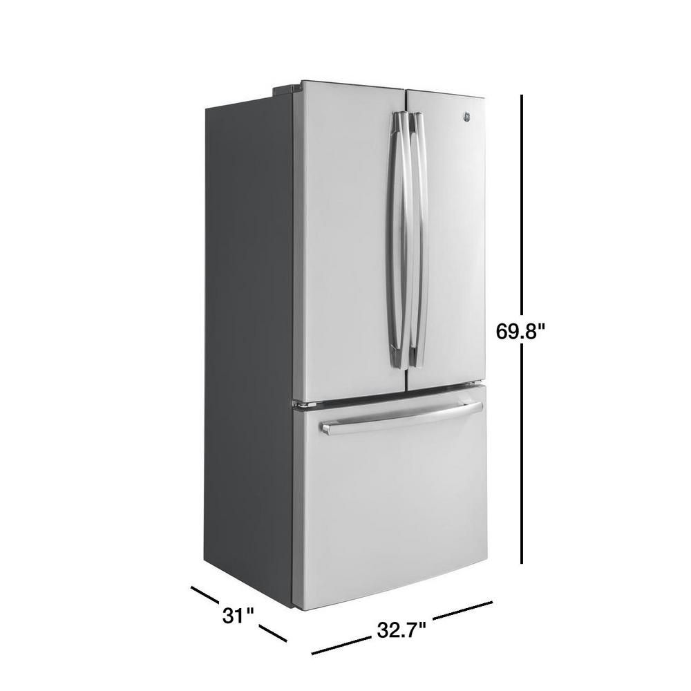 Ge 18 6 Cu Ft French Door Refrigerator In Stainless Steel Counter Depth Gwe19jslss The Home Depot French Door Refrigerator Counter Depth Counter Depth French Door Refrigerator