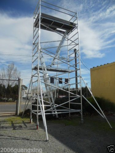 Aluminium Mobile Scaffold Tower W68 Scaffolding Platfrom Ht 5 8m Overall Ht 6 8m Scaffolding Building A House Building Materials