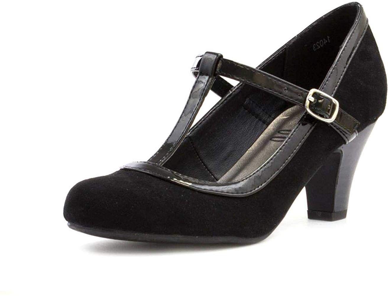Lilley Womens Black Faux Suede T Bar Court Shoe