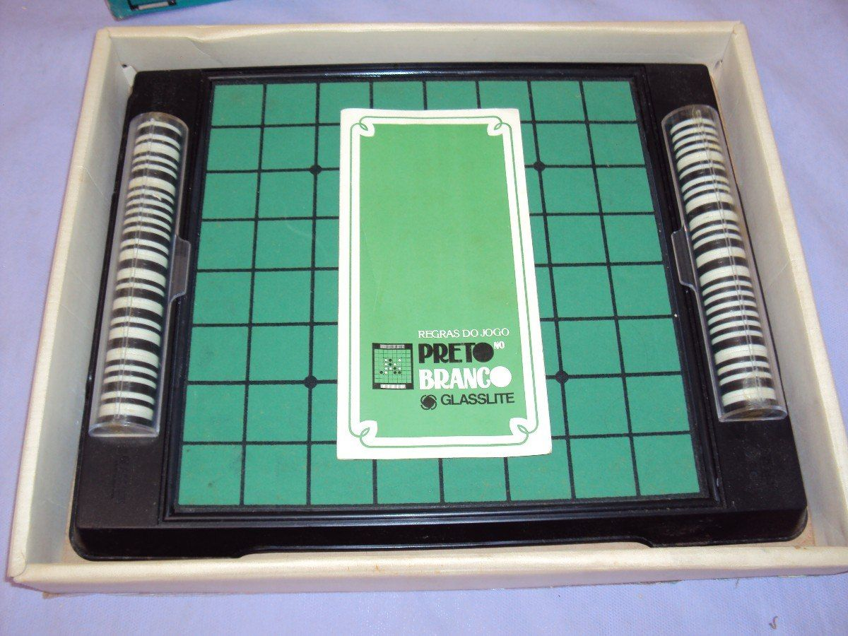 brinquedo antigo, jogo preto no branco da glasslite completo