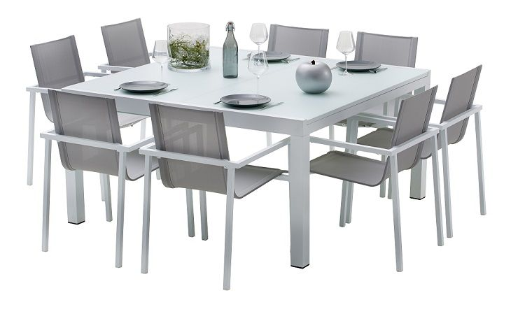 Salon de jardin aluminium carre whitestar 8 places for Table bois rallonge 12 personnes