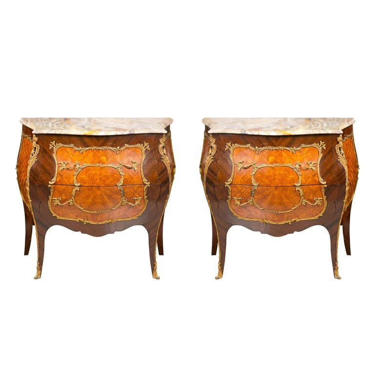 A Pair of French Bombe Marble Top Commodes / Nightstands | 1stdibs.com