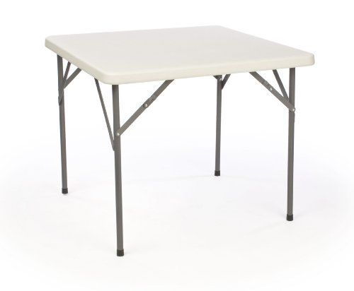 34-inch Square Folding Table with Molded Top, Steel Legs by Displays2go. $48.32. 34-inch square top has rounded edges for safety.. Fold-in legs make the table easier to carry or store in-between uses.. Square tabletop is great for playing games or for use during a bbq or a gathering.. High-quality materials: HDPE plastic top with heavy-duty steel frame and legs.. Black plastic caps included for each leg to prevent scratches on wood flooring.. This square folding table works we...