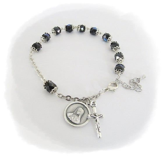 Our Lady of GUADALUPE Rosary Bracelet BLACK Crystal Rosary Bracelet & ITALY Crucifix Catholic Rosaries Lady Guadalupe Bracelet Catholic Gift #catholicrosaries
