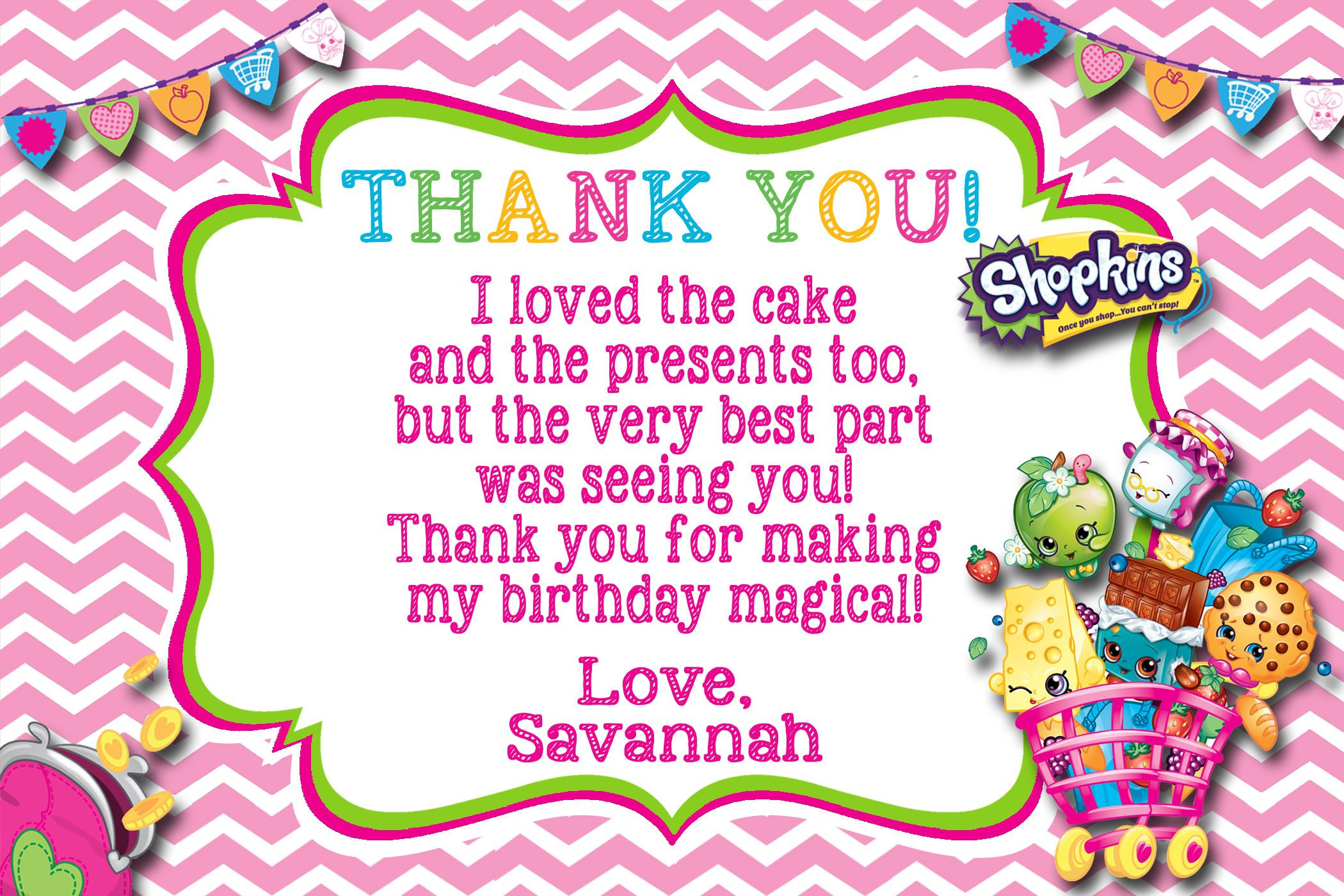 Shopkins Birthday Thank You Card Available At