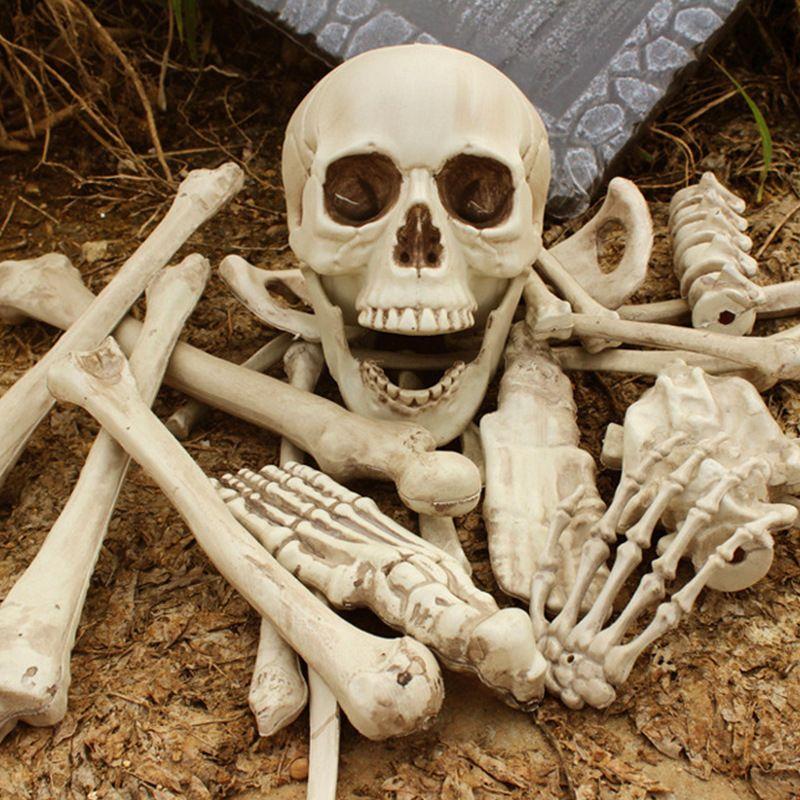 Halloween Decor Fake Human Bones Lifelike Plastic Skeleton Haunted
