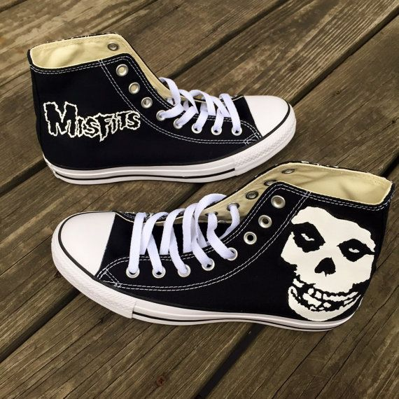 c40ac74c2f42e Custom Hand-Painted Misfits Converse Shoes in 2019 | Etsy | Converse ...