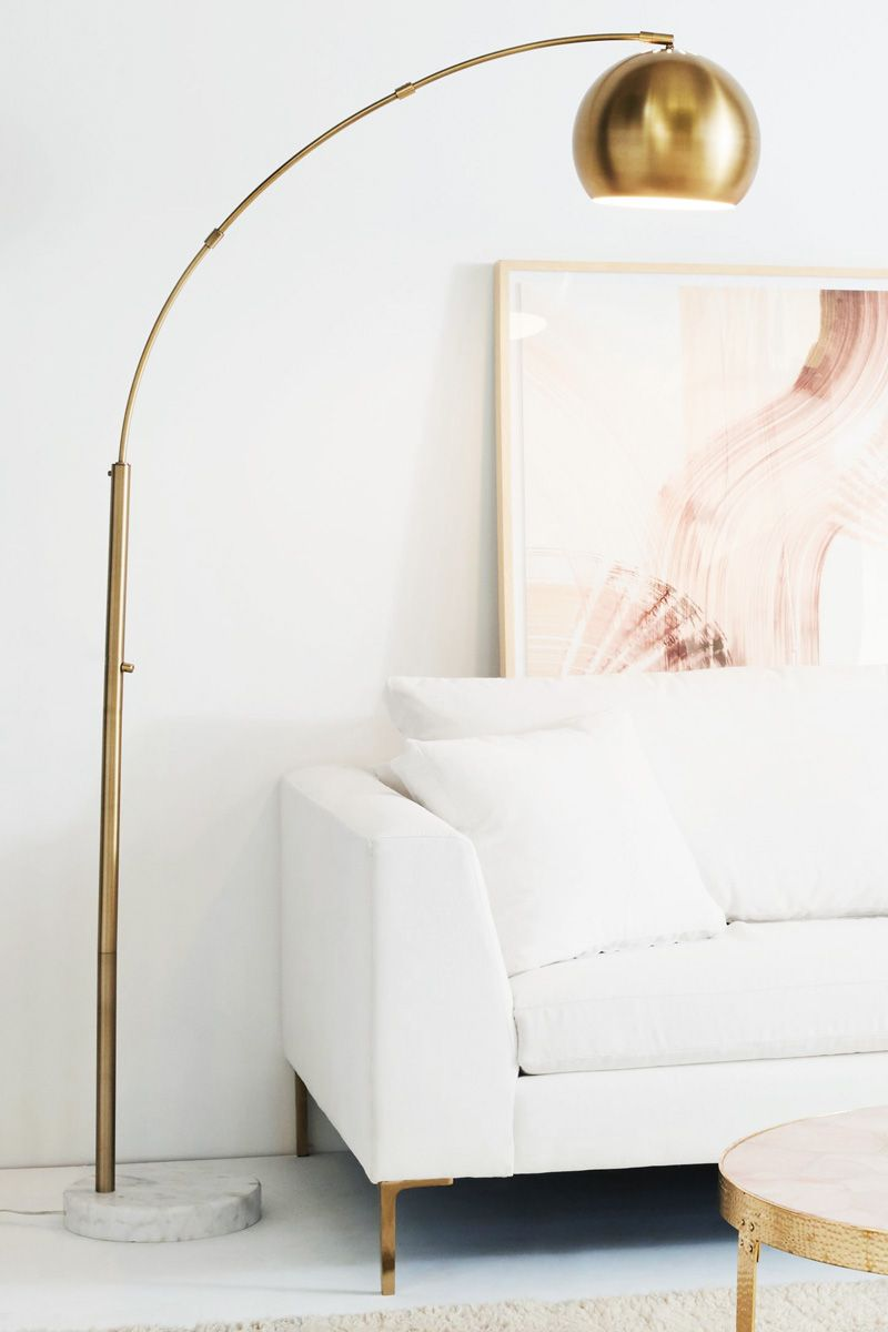 Brass Floor Lamp And Pink Wall Art In White Room On Thou Swell Thouswellblog Floor Lamps Living Room Lamps Living Room Gold Floor Lamp #white #living #room #lamps