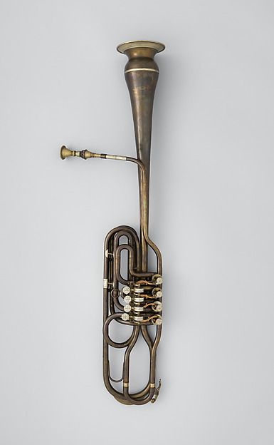 Clavicorno fagotto (brass bassoon) in B-flat on exhibit in the Fanfare Display at The Met.