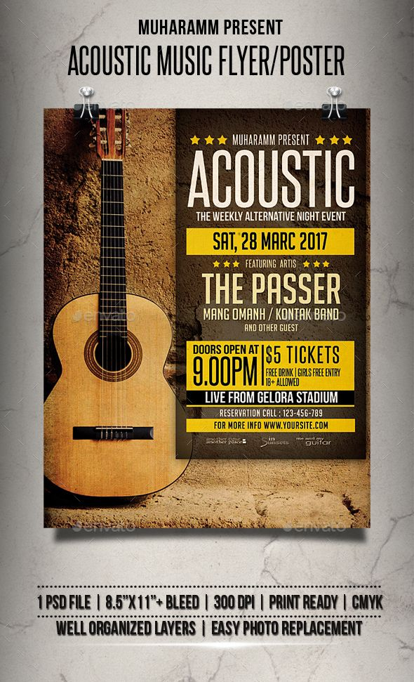 Acoustic Music Flyer  Poster  Music Flyer Acoustic Music And