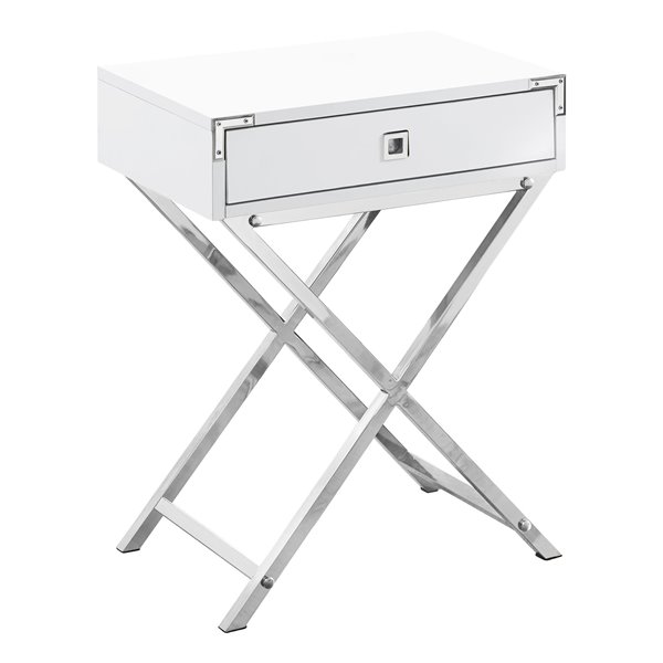 Monarch Specialties Accent Table 12 X 24 Composite White I 3550 Rona Metal Accent Table Accent Table Wood End Tables