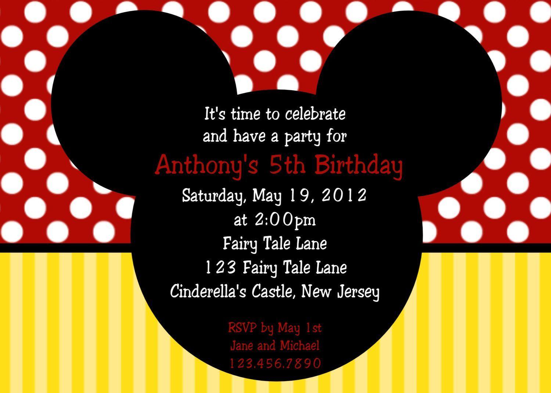 mickeymousebirthdayinvitationcardtemplate – Mickey Mouse Custom Birthday Invitations