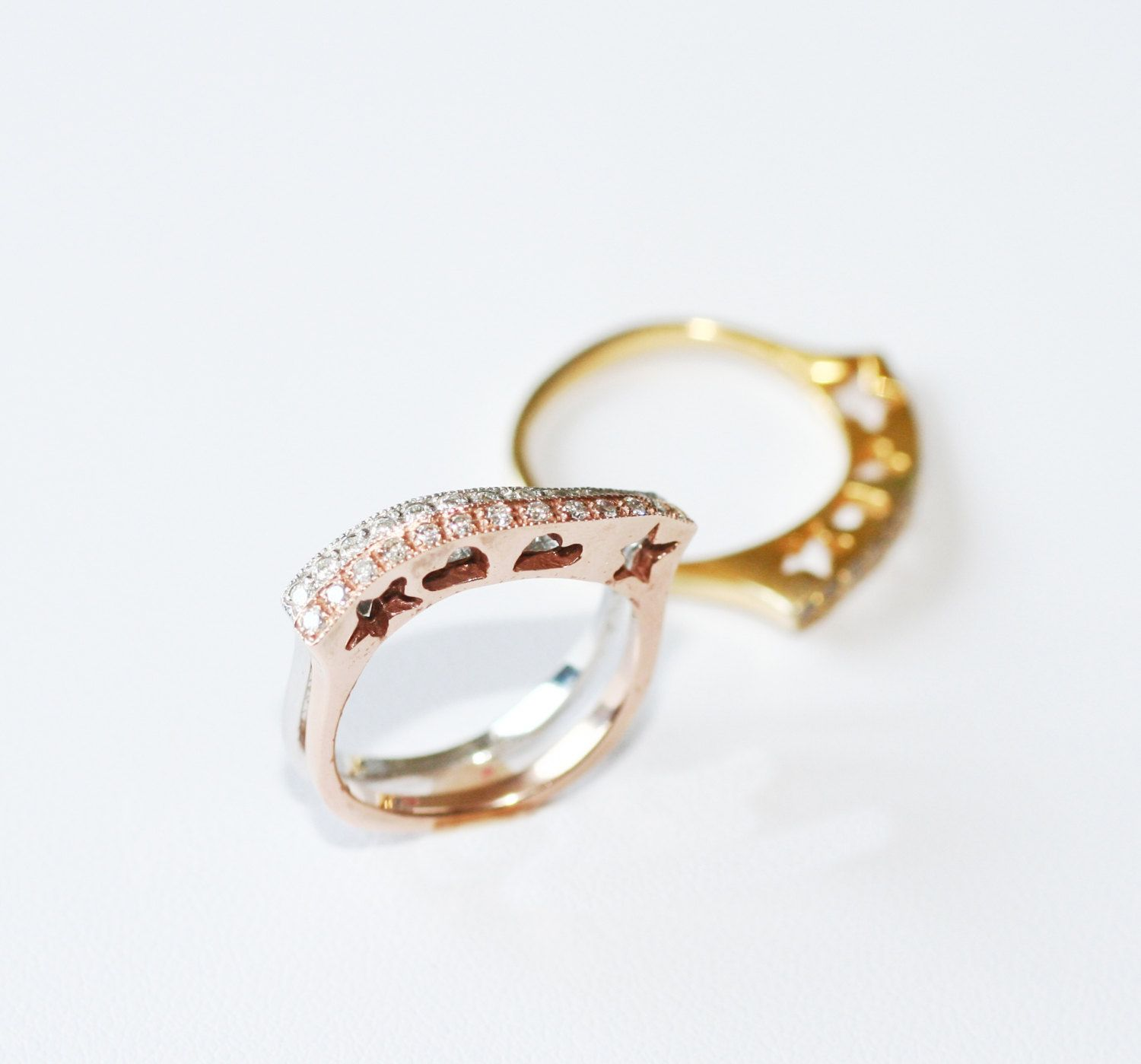 Set of Two 0.28ct  Diamond Rings  in 14k Gold by GAPFineJewelry on Etsy https://www.etsy.com/listing/157517051/set-of-two-028ct-diamond-rings-in-14k