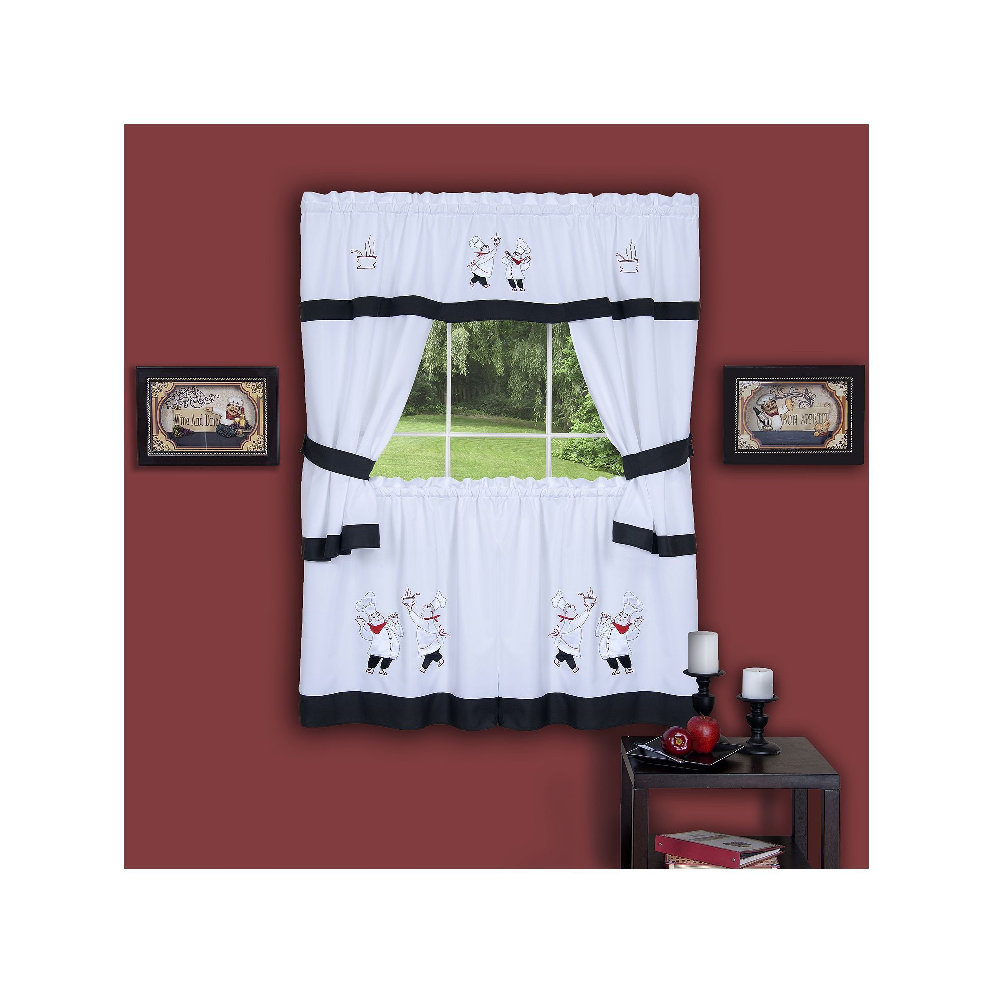 Gourmet pc swagger tier cottage kitchen curtain set black