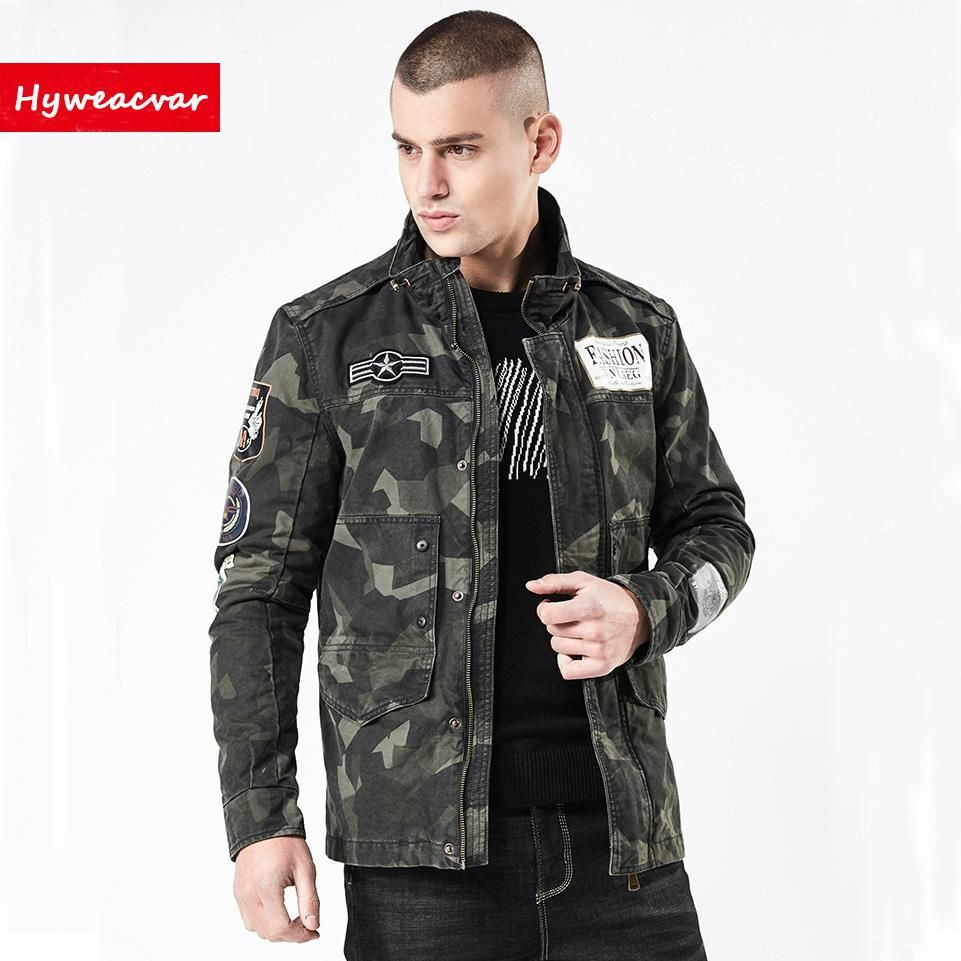 19a1e987b Men's Spring Autumn Camouflage Bomber Jacket Embroidered Army Flight ...