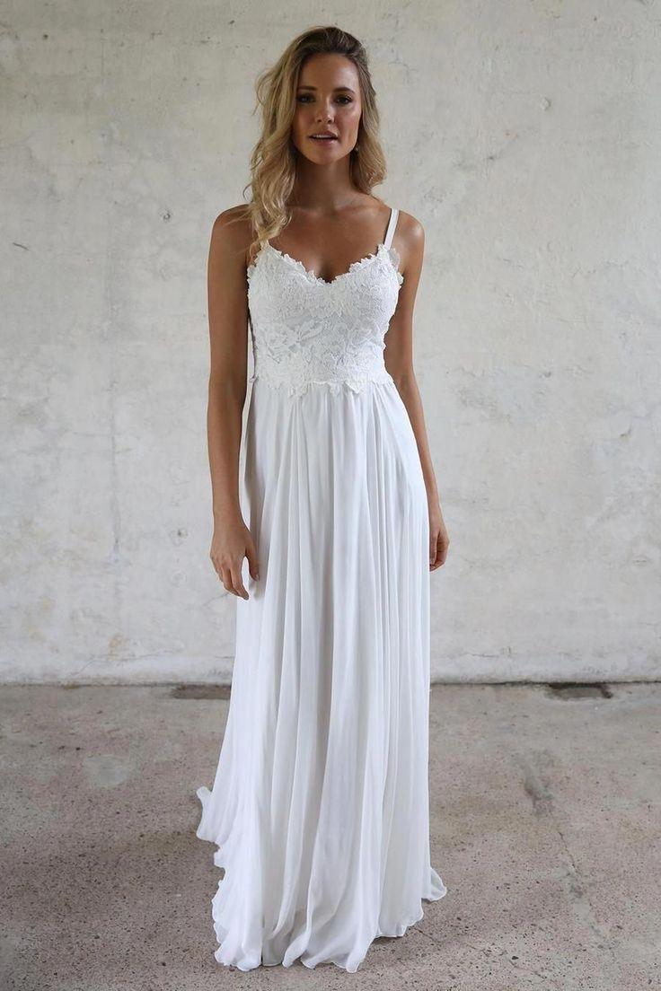 A line Spaghetti Straps Lace Top Beach Wedding Dresses ...