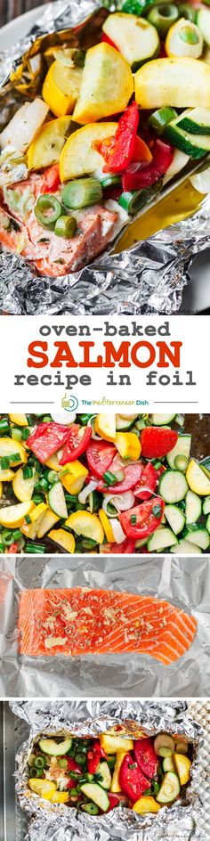 Mediterranean-Style Oven Baked Salmon Recipe| The Mediterranean Dish. Salmon with garlic and thyme, topped with fresh vegetables and a buttery-lime sauce, all wrapped up in foil and baked to perfection. Bakes in 20 mins! An easy and super tasty dinner!