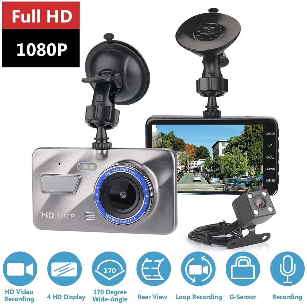 "1080P Dual Lens Front and Rear Camera Dashboard DVR 4/"" IPS LCD Screen for Cars"