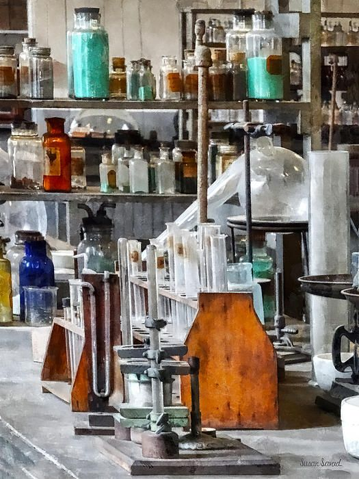 699654df71283  Chem Lab With Test Tubes And Retort  - This old fashioned chemistry lab  had everything the chemist needed for his experiments.  chemist  scientist   science ...