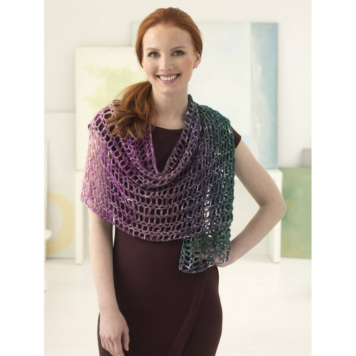 Free Pattern Lion Brand Shawl In A Ball Crochet Sparkle Shawl L60157 Shawl In A Ball Crochet Shawls And Wraps Crochet Kit