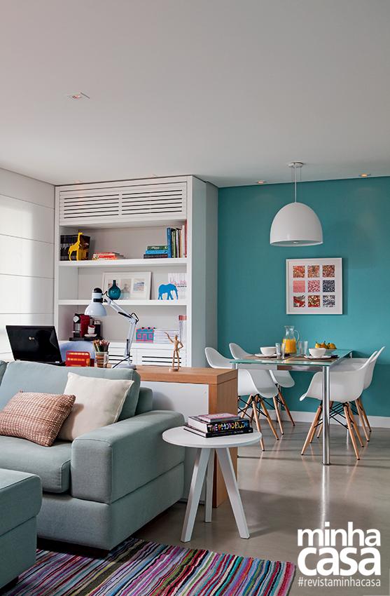 Sala De Estar Com Home Office ~  à sala – que agora abriga estar, jantar e home office sem aperto