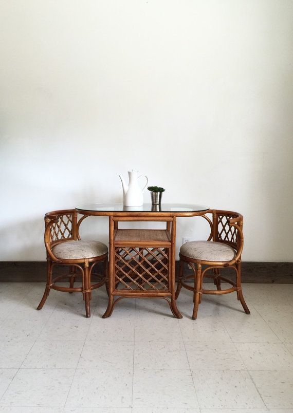 Mid Century Rattan Furniture Dining Set Dinette Bohemian Boho Table And Chair
