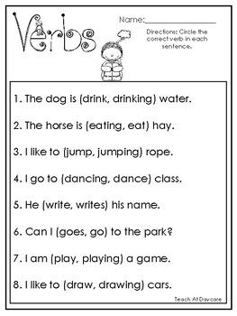 10 Choose The Correct Verb Printable Worksheets In
