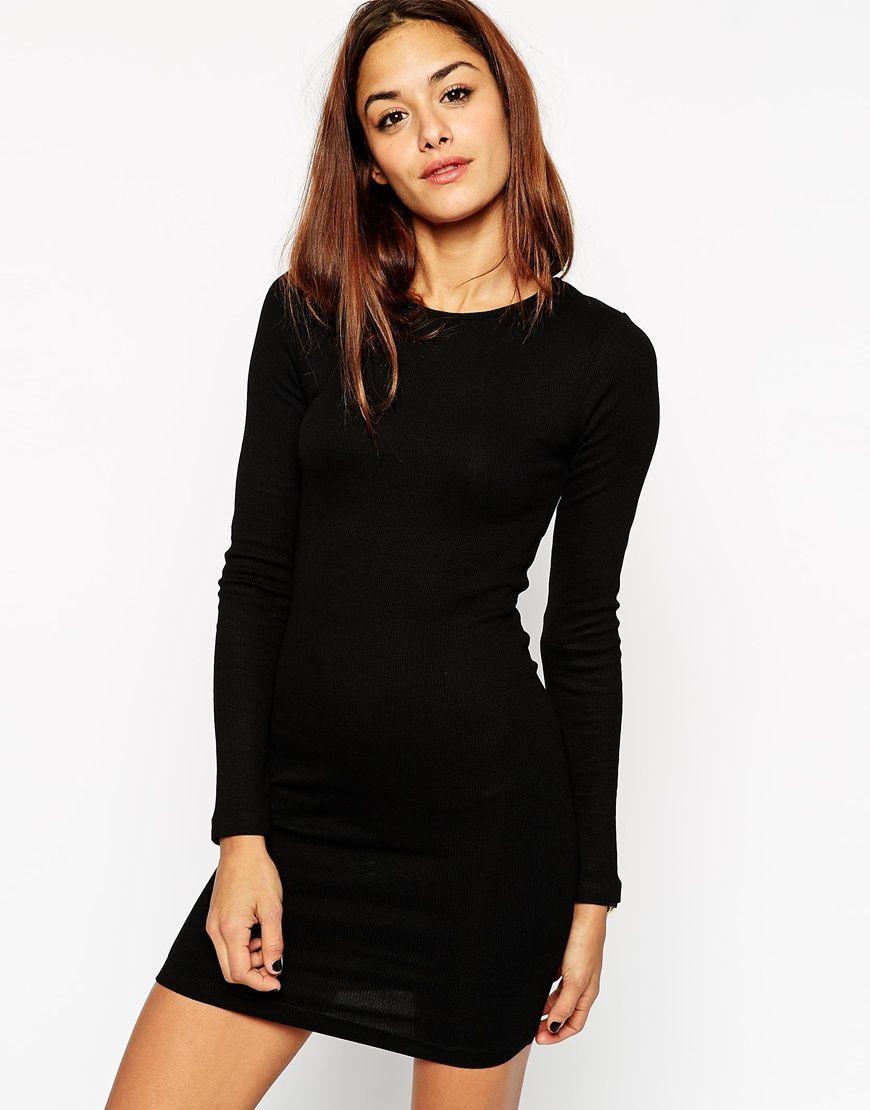 Black bodycon dress long sleeve cheap tee