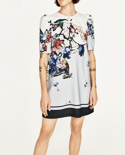 Zdjecie 6 Sukienka Z Nadrukiem W Kwiaty Z Zara Blue Floral Print Dress Print Dress Printed Mini Dress