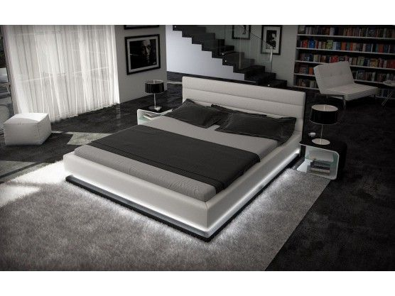 lit design rembourr avec clairage led blanc noir ripany. Black Bedroom Furniture Sets. Home Design Ideas
