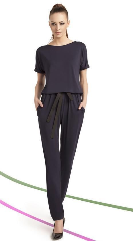 combinaison bleue fluide femme mode chic manches courtes. Black Bedroom Furniture Sets. Home Design Ideas