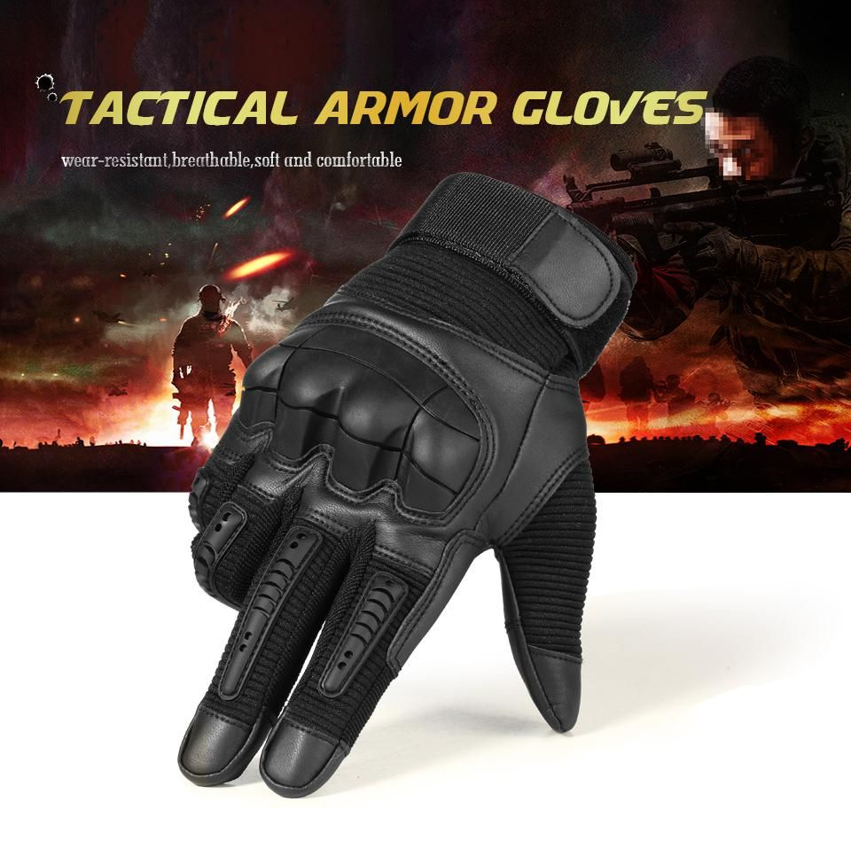 0d5e302b6e5c Tactical Gloves Touch-Screen Tactile Rubber Hard Knuckle Armor Full ...