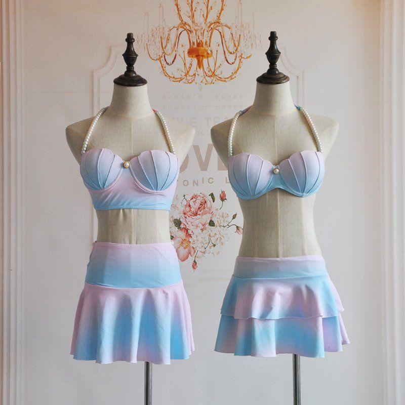 """Cute gradient shells bikini two-piece Coupon code """"cutekawaii"""" for 10% off"""