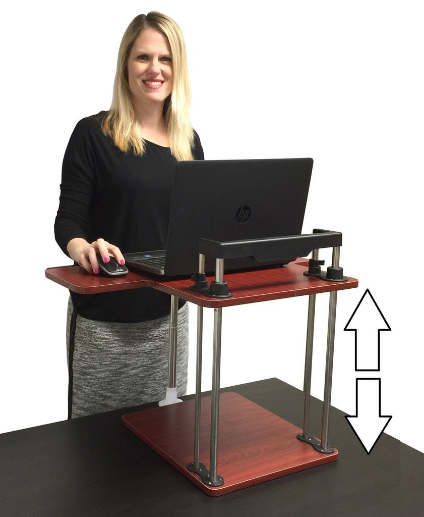 Uptrak standing desk adjustable stand up desk black u cherry